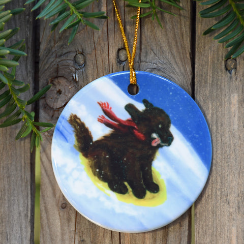 """The Sled Ride, brown newfoundland ornament"""
