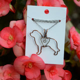 """Copper Saint Bernard Pendant with Sterling Silver Heart & Chain"""