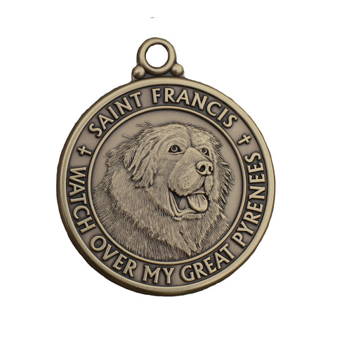 """Great Pyrenees"" St. Francis Tag"