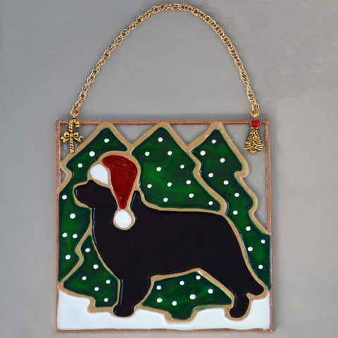 Stained Glass Black Newf Ornament with Trees