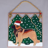 """Stained Glass Leonberger Ornament with Trees"""
