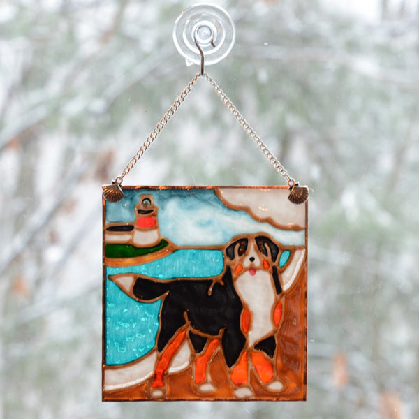 Stained Glass Bernese & Lighthouse Ornament/Suncatcher