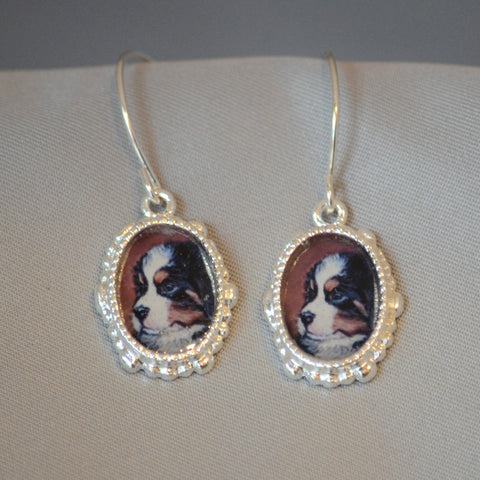 Bernese Puppy Oval Earrings