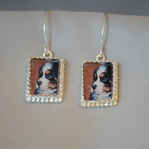 Bernese Puppy Rectangular Earrings
