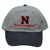 N (for newf), embroidered cap - stone & black/red