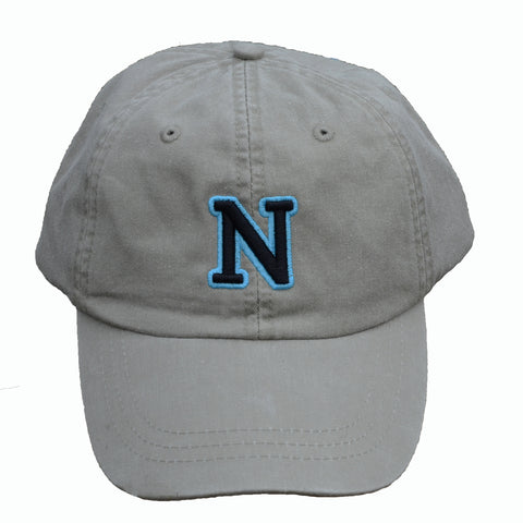 N (for newf), embroidered cap - stone & black/blue