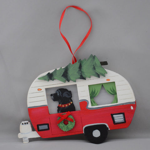 """Vintage Camper and Black Newf Ornament"""