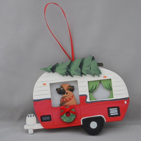 """Vintage Camper and Leonberger Ornament"""