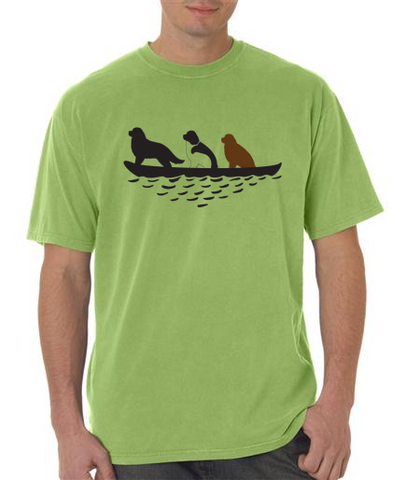 3 Newfs in Canoe T-Shirt - Aloe