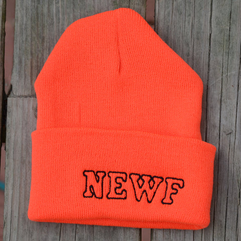 Adult Knit Beanie - Newf, orange, black embroidery