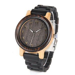 BOBO BIRD WN14N15 Wenge Wooden Watches Eastern Arabic Persian Farsi Numerals Dial Face Watchs Ebony Band Watch for Lover's - Exille