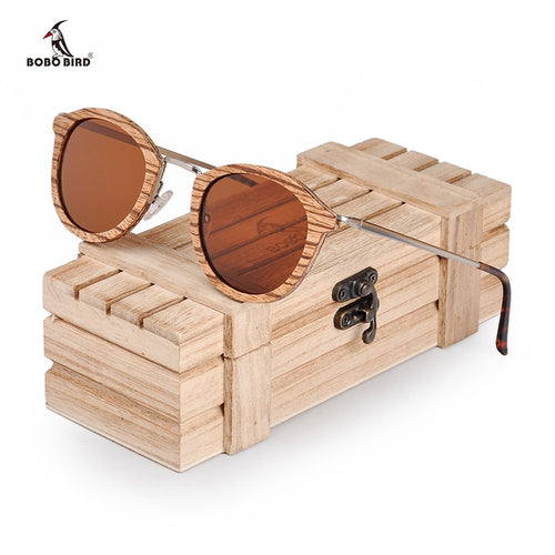Wood Sun Glasses in Wooden Gift Box W-AG028 For Women - Exille