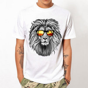 Lion Glasses Printing T-shirt White - Exille