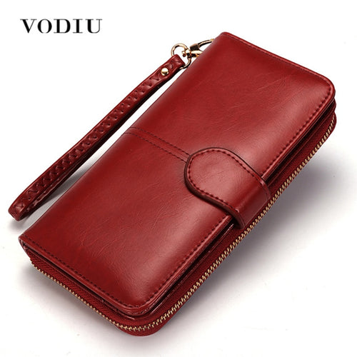 Women Leather Wallet With Long Trifold Coin Purse - Exille