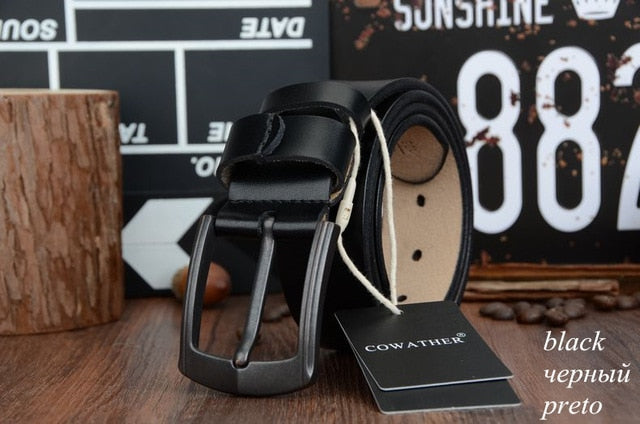 COWATHER 2018 cow genuine leather mens belt for men high quality vintage style - Exille