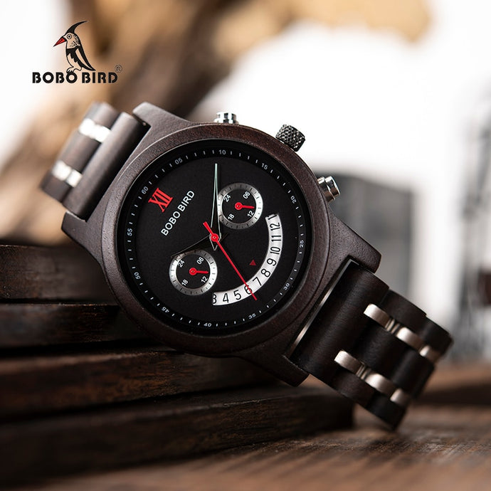 relogio masculino BOBO BIRD Wood Watch Men Luxury Chronograph - Exille