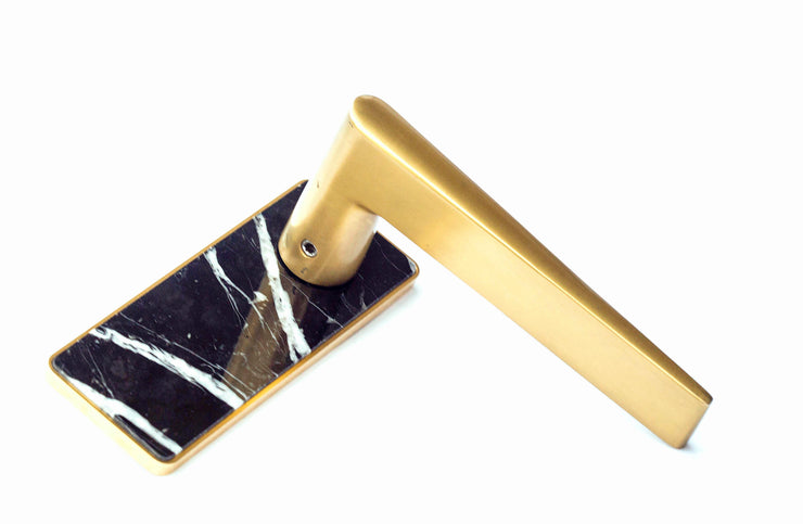 Moscow Lever Rectangle Nero Black Marble Plate in Gold finish   (MLRP NMBL MGLD )
