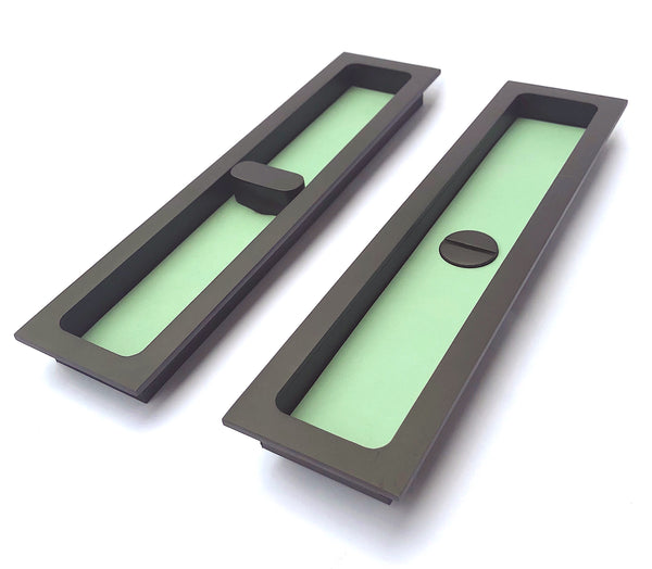 Recessed Leather Turn And Release Pull Handle For Sliding Doors   (RLTRPH  TQ MBLK )