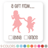 "2-sibling silhouette gift labels | 2"" squares"