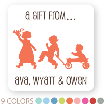 "3-sibling silhouette gift labels | 2"" squares"