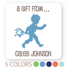 "personalized silhouette boy gift labels | 2"" squares"