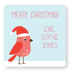 personalized Christmas gift labels | pink bird