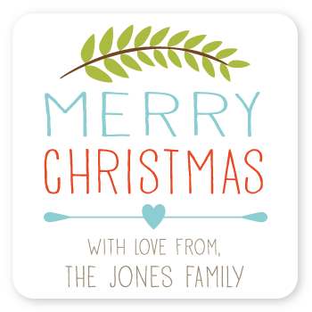 "branch christmas gift labels | 2"" squares"