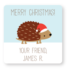 personalized Christmas gift labels | hedgehog