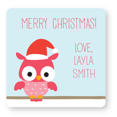 personalized Christmas gift labels | pink owl