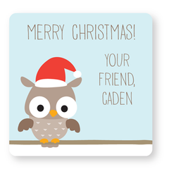 personalized Christmas gift labels | owl