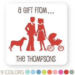 "family silhouette gift labels | 2"" squares"