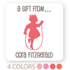 "personalized silhouette girl gift labels | 2"" squares"