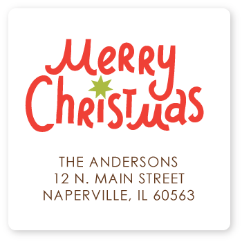 square merry christmas return address labels sarah abraham