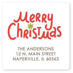 square merry christmas return address labels