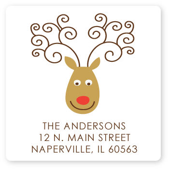 square reindeer return address labels