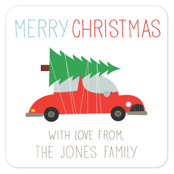 personalized Christmas gift labels | tree on car