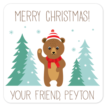 personalized Christmas gift labels | winter bear