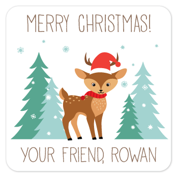 personalized Christmas gift labels | winter deer