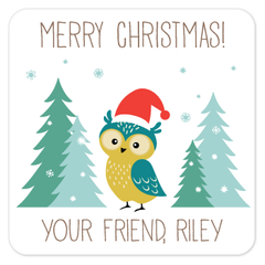 personalized Christmas gift labels | winter owl