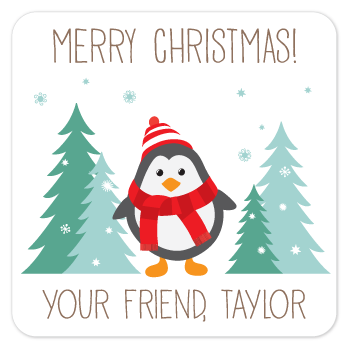 personalized Christmas gift labels | winter penguin