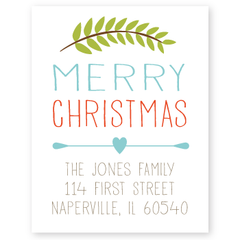 branch merry christmas return address labels