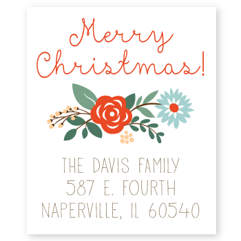 floral merry christmas return address labels