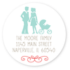 circle silhouette family return address labels