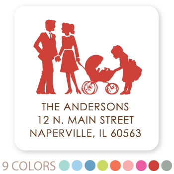 square silhouette family return address labels