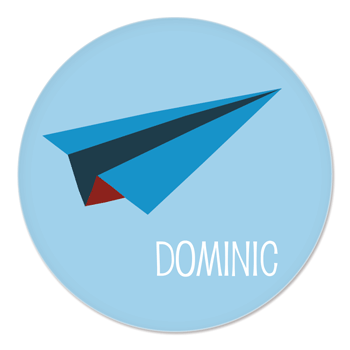 personalized kids plate | blue paper airplane
