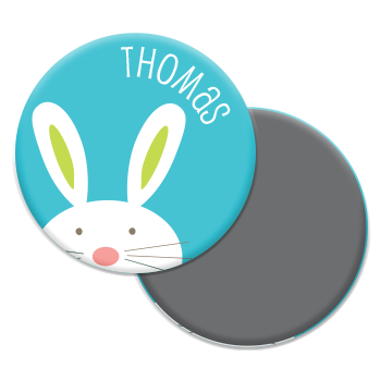 personalized bunny magnet | blue