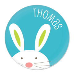 personalized bunny plate | blue