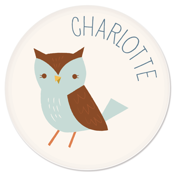 personalized kids plate | blue owl