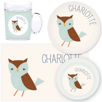 personalized mealtime set | blue owl