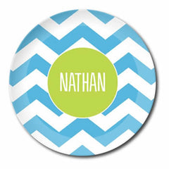 personalized plate | blue chevron